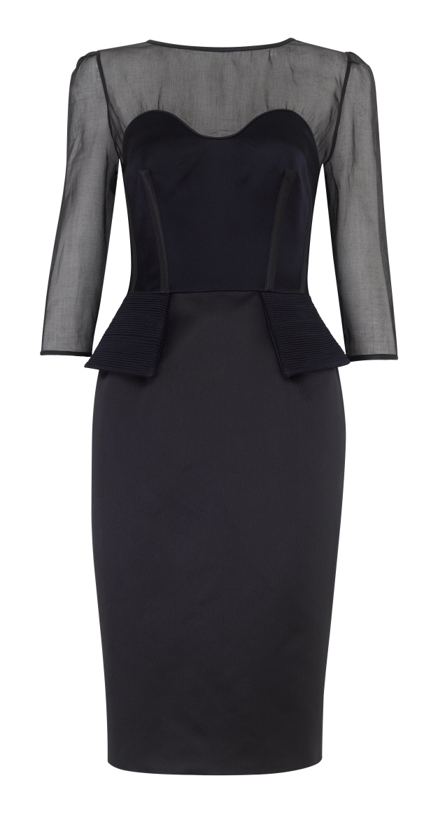 Sculpted tailored chic cocktail dress inspired by 1940s Parisian style