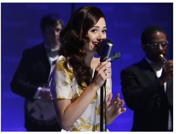 Emmy Rossum simger and movie star wears the Oriental Bloom Fifties Dress..x
