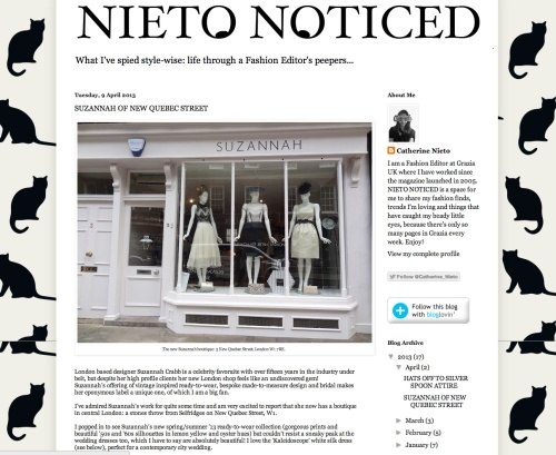 Grazia Editor Catherine Neiito's blog post about the Suzannah Boutique..x