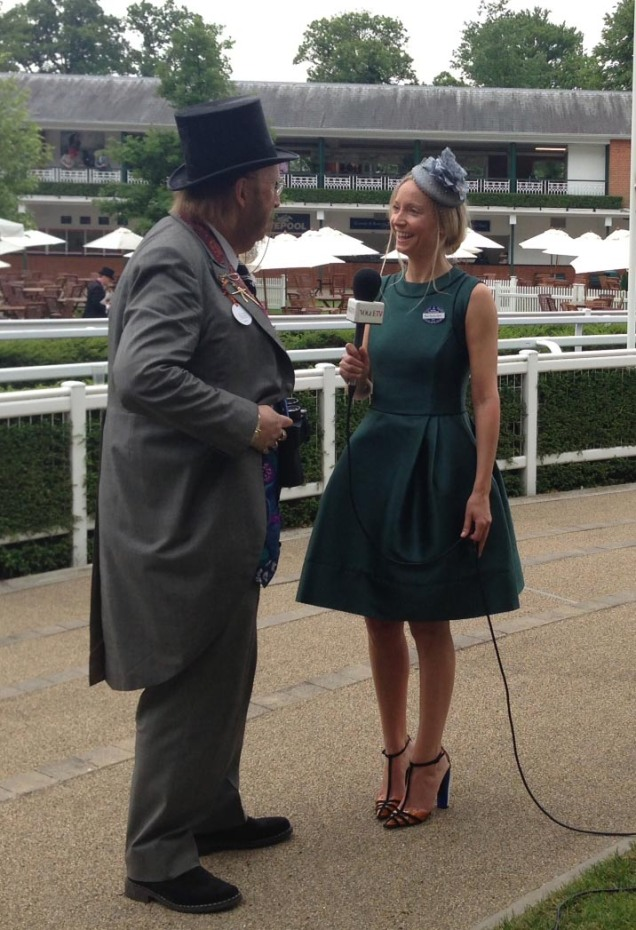Martha Ward of British Vogue Wears the new 50's Doris Day Dress in Bottle Green to present Royal Ascot