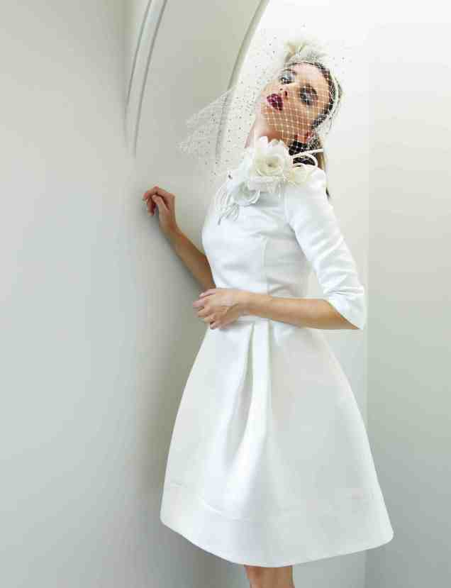 Beautiful Silk Duchesse 1950s inspired Short Simple Wedding Dress