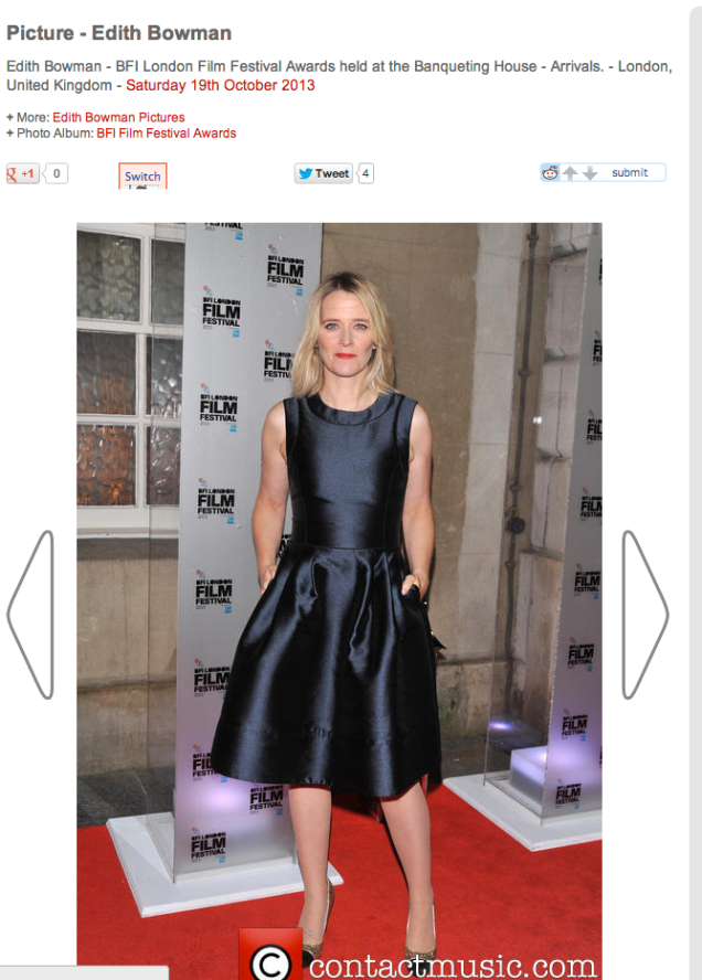 Edith Bowman wearing the Doris Day Navy Blue Suzannah Dress to the BFI film awards..x