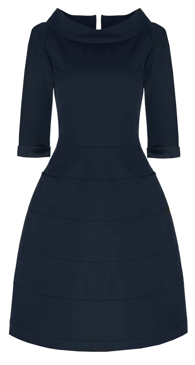 Navy Cotton Sculpted Dress With Sleeves