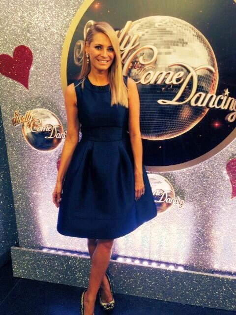 Tess Daly Wears Doris Day Navy
