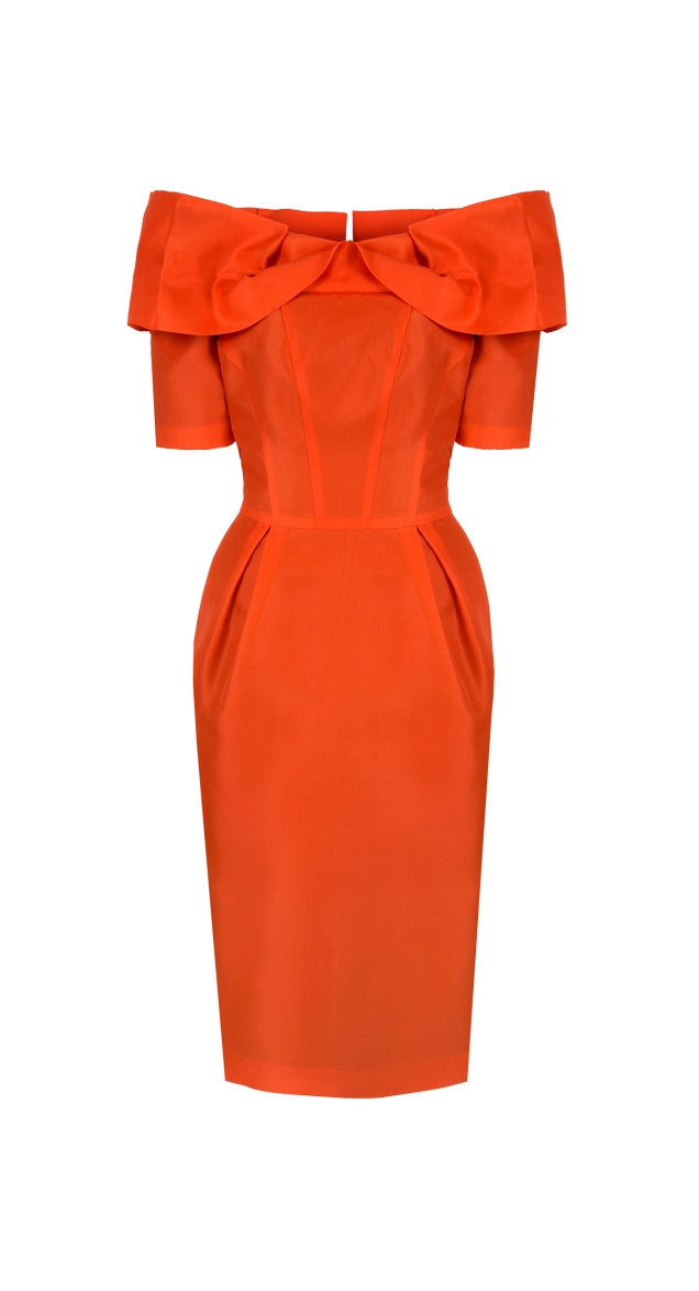 Presidents Dress Orange Silk Gazar