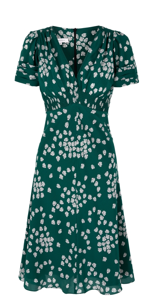 Budding Heart Print Silk Tea Dress