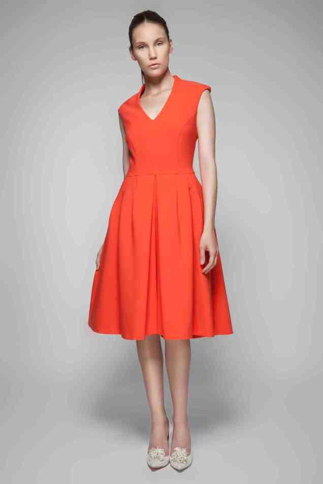 Townhall Dress Ornage Model Shot