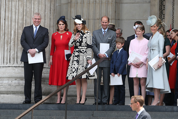 LONDON, ENGLAND - JUNE 10:  Prince Andrew, Duke of York, Princess Beatrice, Princess Eugenie, Prince Edward, Earl of Wessex and Sophie, Countess of Wessex leave The National Service of Thanksgiving at St Pauls Cathedral on June 10, 2016 in London, England.  (Photo by Neil Mockford/Alex Huckle/GC Images)
