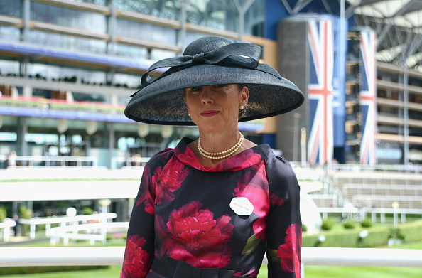 ASCOT, ENGLAND - JUNE 15:  Louise Morgan attends day 2 of Royal Ascot at Ascot Racecourse on June 15, 2016 in Ascot, England.  (Photo by Kirstin Sinclair/Getty Images for Ascot Racecourse) Louise wears bespoke Suzannah Frillseeker dress with Rachel Trevor Morgans millinery