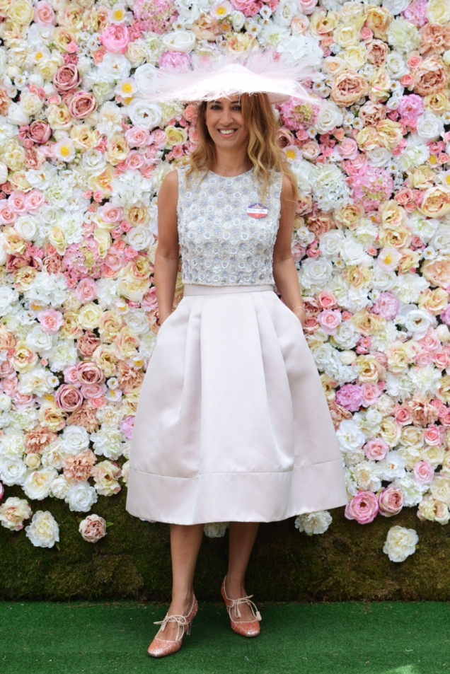 ASCOT, ENGLAND - JUNE 16:  Nazer Bullen attends day 3 of Royal Ascot at Ascot Racecourse on June 16, 2016 in Ascot, England.  (Photo by Kirstin Sinclair/Getty Images for Ascot Racecourse) Nazer wears the Suzannah Daisy Sequin Bodice with 1950's influence skirt in cosmetic pink