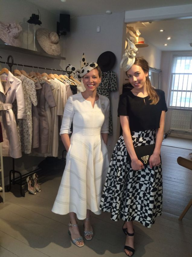 Suzannah & Courtney. Suzannah wears Wave dress  with Edwina Ibbotson millinery.Courtney wears graphic 1950s skirt and tee with Laura Apsit livens hat