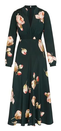 Grandad Midi Dress Peony Print
